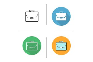 Briefcase. 4 icons. Vector