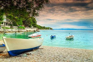 Water bay with fishing boats