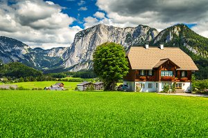 Alpine houses and mountains, Austria