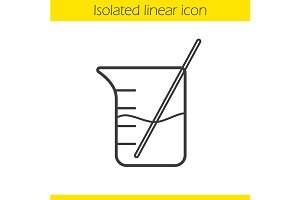 Beaker with rod icon. Vector