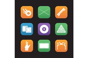 Billiard. 9 icons. Vector