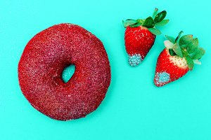 donuts and strawberries Sweet