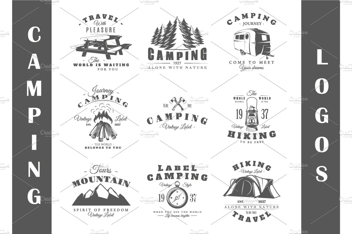 9 Camping Logos Templates ~ Logo Templates ~ Creative Market