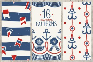 16 Nautical Retro Patterns & Borders