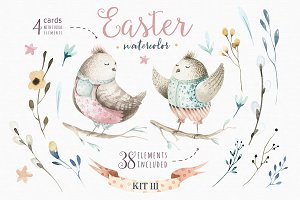 Happy easter watercolor kit III