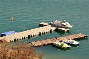 Small jetty on lake