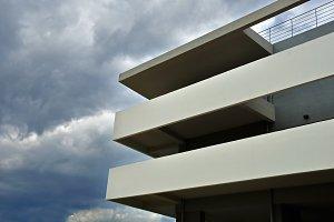 Building Facade Stormy Sky