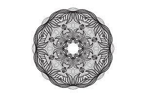 Crazy mandala template for coloring book, zendoodle. Round zentangle. Round ornament lace pattern for your design