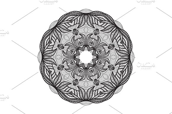 Crazy Mandala Template For Coloring Book Zendoodle Round Zentangle Ornament Lace Pattern