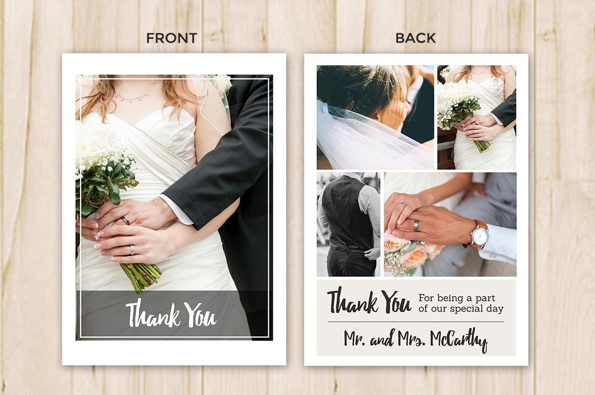wedding thank you card template flyer templates creative market - Wedding Thank You Cards