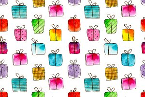 Watercolor gift boxes pattern