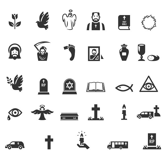 Funeral Icon Set in Icons