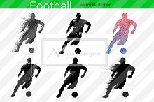 Silhouettes of football players. set