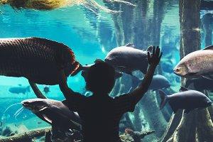 Person in oceanarium