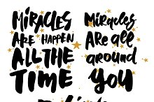 Miracles lettering set (3 quotes)