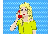 Pop art vintage comic. Girl talking on the phone. Comic book Retro style. Technology and communication