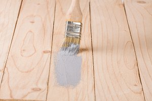 painting wooden board paint brush gray color