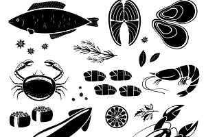 seafood silhouettes icons