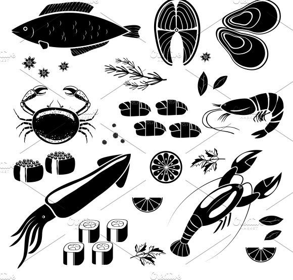 seafood silhouettes icons - Icons