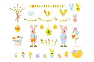 Big Collection of Happy Easter Objects.