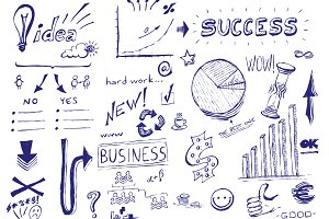 Business success hand drawn icons