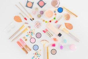 Colorful make up flat lay scene