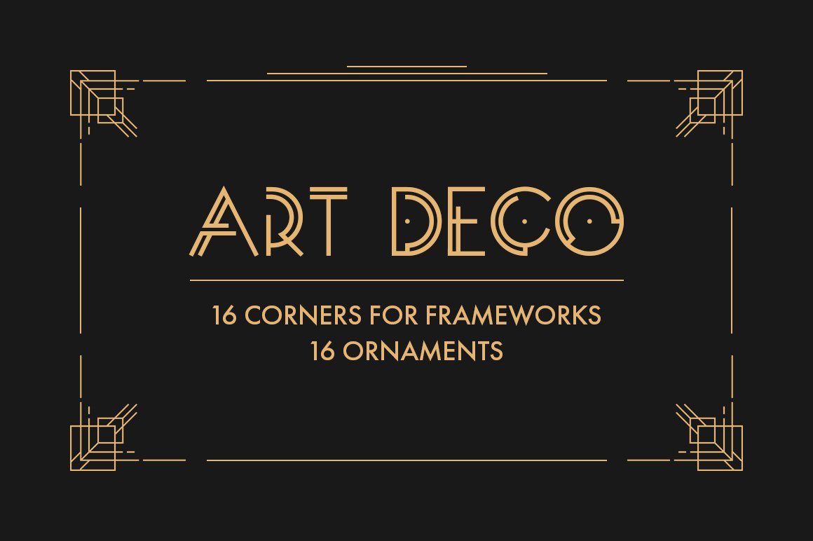Art deco vector elements graphic objects creative market - Art deco design elements ...