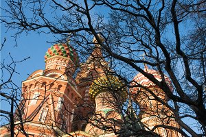 St. Basil's Cathedral on Red square in spring day. Moscow, Russia