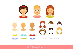 Girl avatar creator and icons set