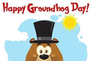 Happy Marmot Mascot Character