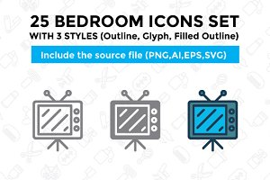 25 Bedroom icon set with 3 styles