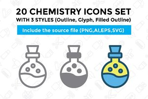 20 Chemistry Icon Set With 3 Styles