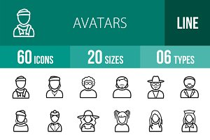 60 Avatars Line Icons