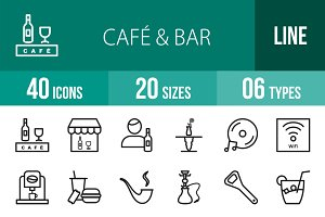 40 Cafe & Bar Line Icons