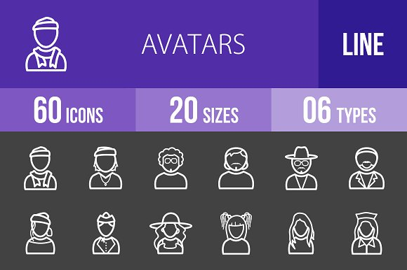 60 Avatars Line Inverted Icons