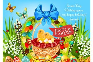 Easter basket with eggs and chickens greeting card
