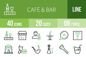 40 Cafe & Bar Line Green&Black Icons