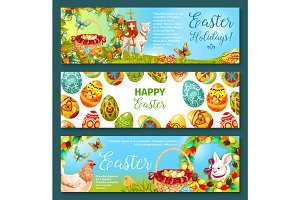 Easter egg and rabbit cartoon banner set design