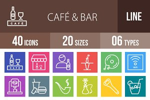40 Cafe & Bar Line Multicolor Icons