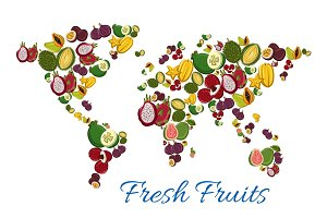Fresh tropical exotic fruits in shape of world map