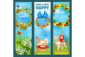 Happy Easter greetings banner template set design