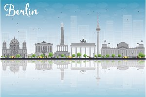 Berlin skyline with grey building