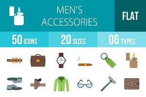 50 Men's Items Flat Multicolor Icons