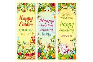 Easter Day greetings banner with holiday symbols