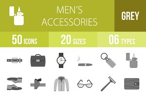 50 Men's Items Greyscale Icons