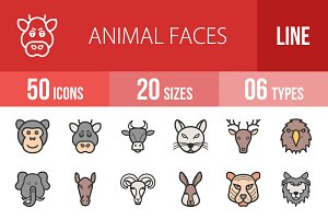 50 Animal Faces Filled Line Icons