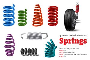 Realistic Metal Springs Set