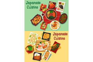 Japanese cuisine seafood and meat dishes icon