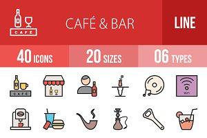 40 Cafe & Bar Filled Line Icons