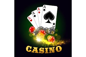 Casino poster with poker cards suits and dices